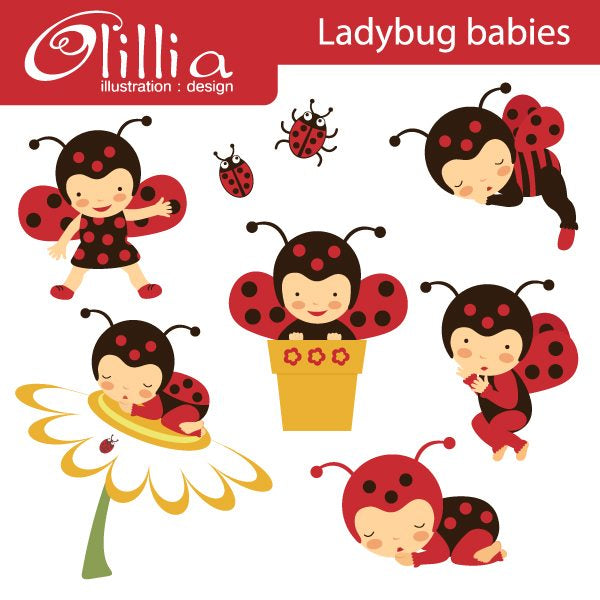 Ladybug babies clipart  Olillia Illustration    Mygrafico