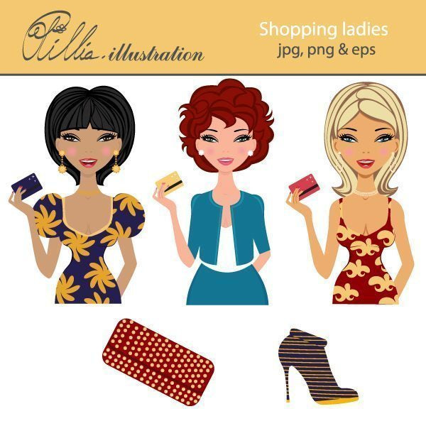 Shopping ladies clipart  Olillia Illustration    Mygrafico