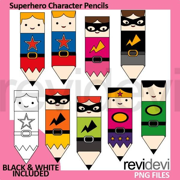 Superhero character pencils clipart Cliparts Revidevi    Mygrafico