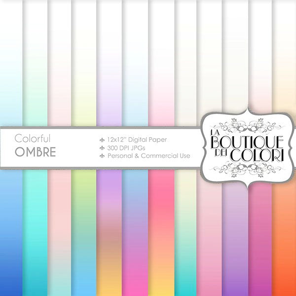 Pastel Ombre Digital Papers  La Boutique Dei Colori    Mygrafico