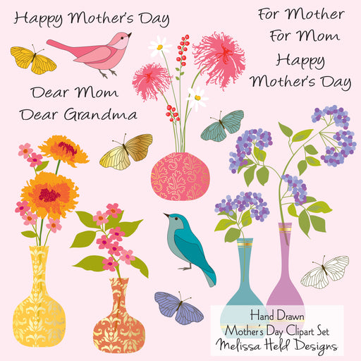 Mothers Day Clipart Card Kit  with Birds and Vases Cliparts Melissa Held Designs    Mygrafico
