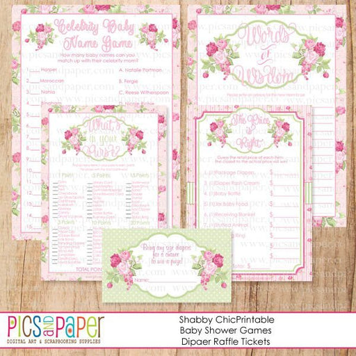 Shabby Chic Baby Shower Games Printable Templates Pics and Paper    Mygrafico