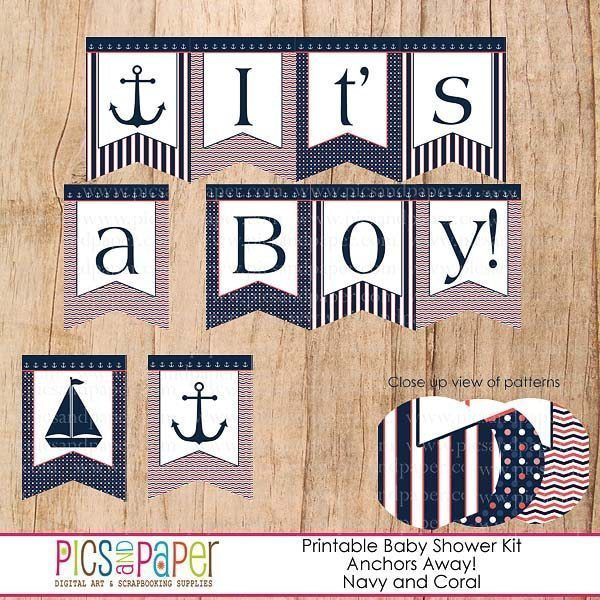 Anchors Away Baby Shower Kit Printable Templates Pics and Paper    Mygrafico