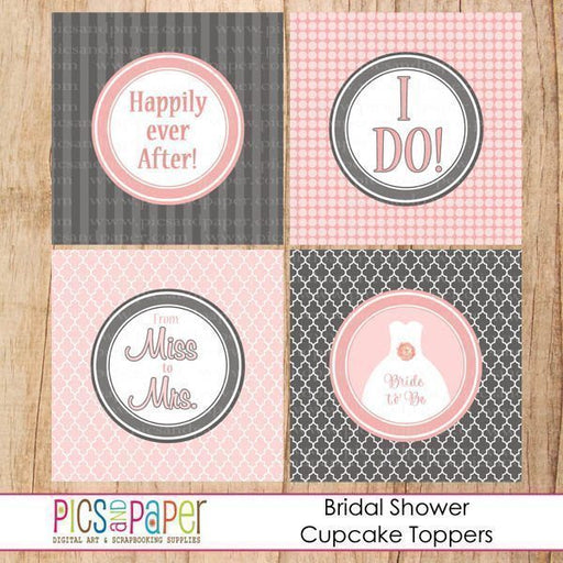 Bridal Shower Toppers in Gray and Pink Printable Templates Pics and Paper    Mygrafico