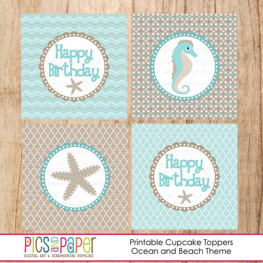 Printable Beachy Cupcake Toppers Printable Templates Pics and Paper    Mygrafico