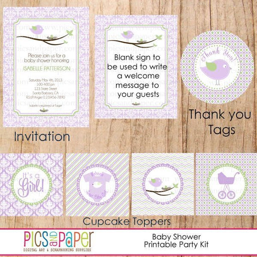 Lavender Baby Shower Party Kit Party Printable Templates Pics and Paper    Mygrafico