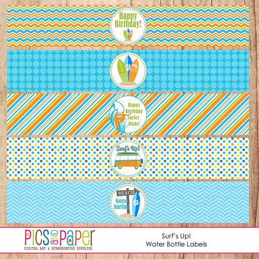 Surfs' Up! Water Bottle Labels Printable Templates Pics and Paper    Mygrafico