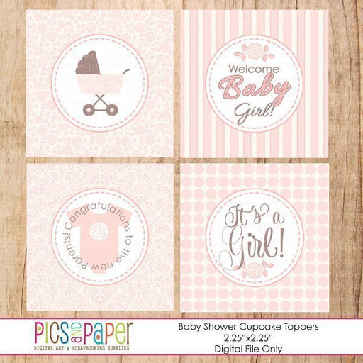 Pink Rose Baby Shower Toppers Printable Templates Pics and Paper    Mygrafico