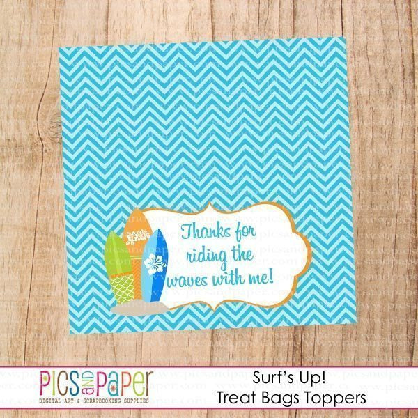 Surf Theme Treat Bags/Toppers Printable Templates Pics and Paper    Mygrafico