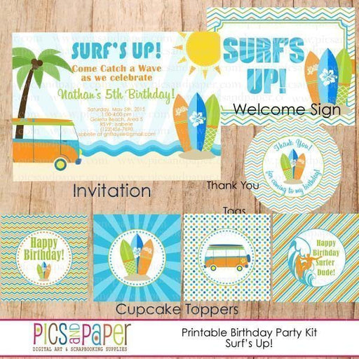Surf's Up! Printable Party Kit Party Printable Templates Pics and Paper    Mygrafico