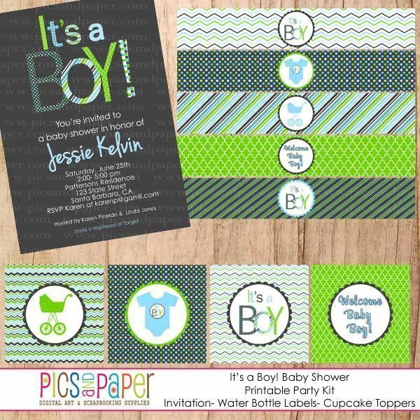 It's a Boy! Baby Shower Mini Kit Party Printable Templates Pics and Paper    Mygrafico