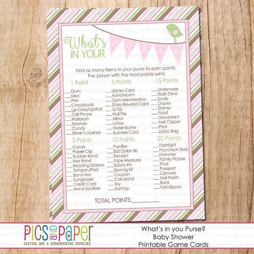 Baby Shower Game What's in your Purse? Printable Templates Pics and Paper    Mygrafico