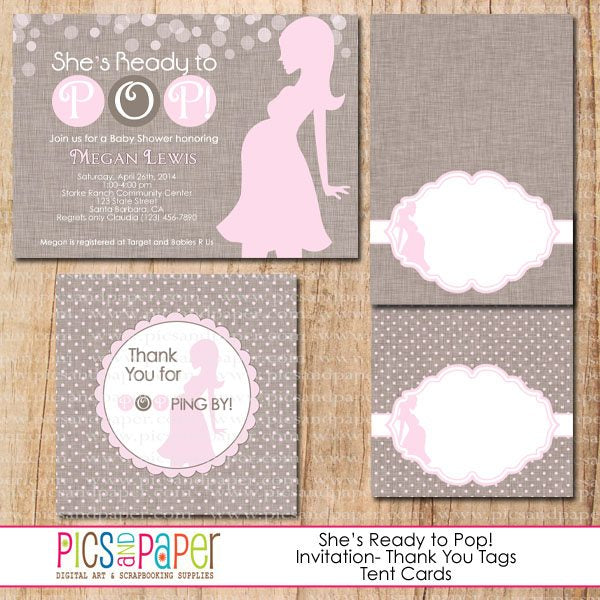 She's Ready to Pop! Baby Shower Mini Kit Party Printable Templates Pics and Paper    Mygrafico