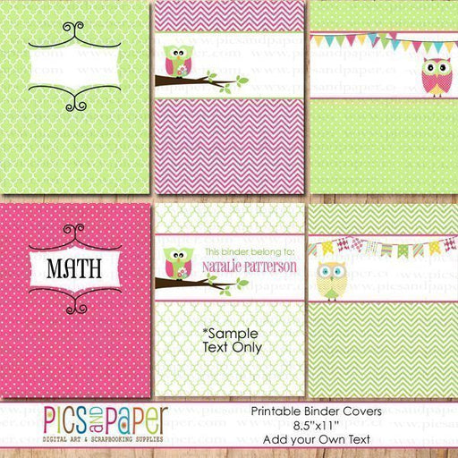 Binder Covers- Pink Owls Printable Templates Pics and Paper    Mygrafico