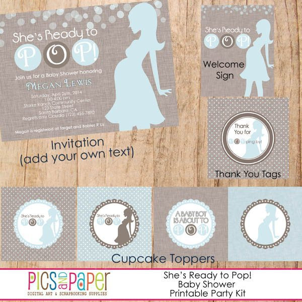 She's Ready to Pop! Baby Shower Kit Printable Templates Pics and Paper    Mygrafico