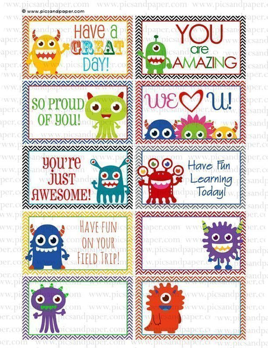 Lunch Box Notes Little Monsters Printable Templates Pics and Paper    Mygrafico