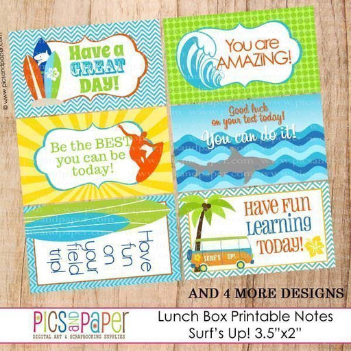 Lunch Box Notes Surf Theme Printable Templates Pics and Paper    Mygrafico