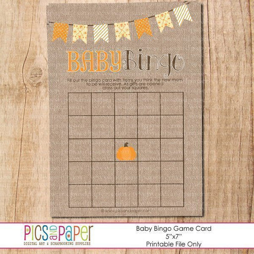 Baby Bingo Little Pumpkin Party Printable Templates Pics and Paper    Mygrafico