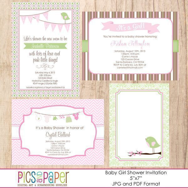 Baby Girl Shower Invitation  Pics and Paper    Mygrafico