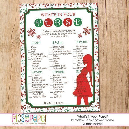 BabyShower Game What's in Your Purse-Winter Theme Party Printable Templates Pics and Paper    Mygrafico