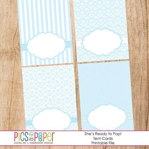 Tent Cards in Baby Blue Printable Templates Pics and Paper    Mygrafico