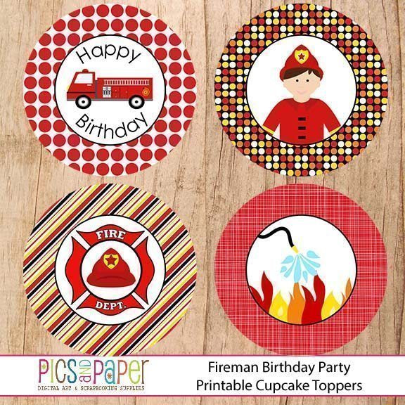 Fireman Cupcake Toppers Printable Templates Pics and Paper    Mygrafico
