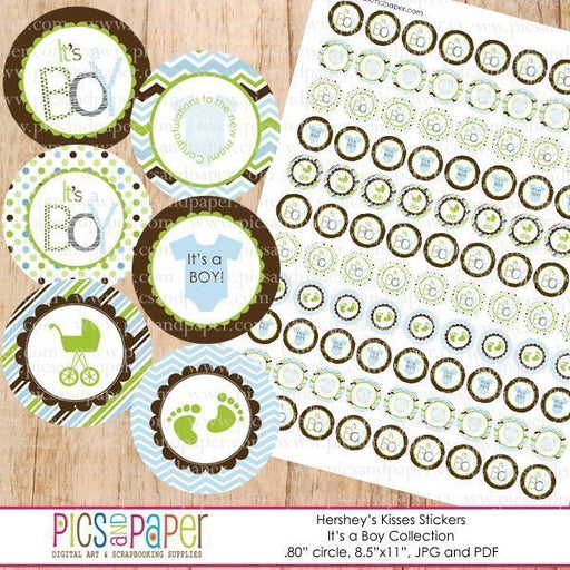 It's a Boy Hershey's kisses stickers Party Printable Templates Pics and Paper    Mygrafico