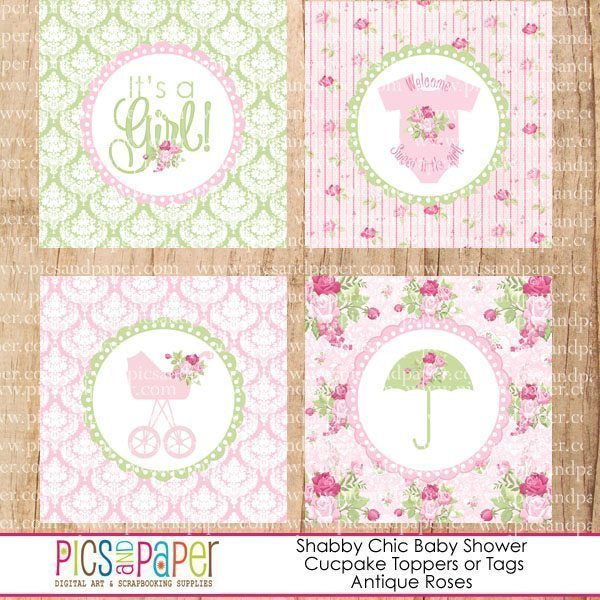 Shabby Chic Baby Shower Toppers Printable Templates Pics and Paper    Mygrafico
