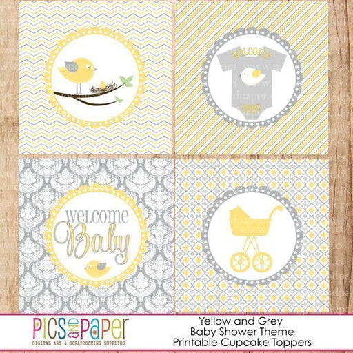 Yellow Bird Baby Shower Cupcake Toppers Printable Templates Pics and Paper    Mygrafico
