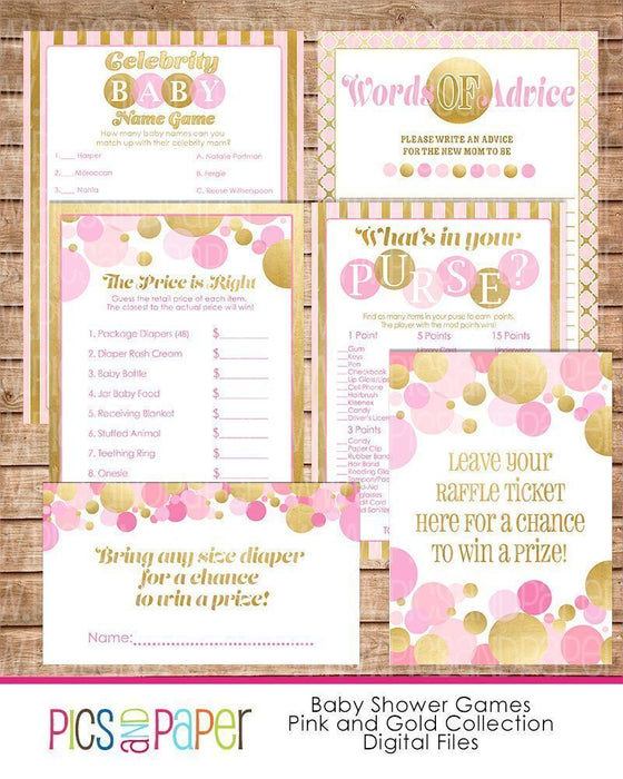 Gold and Pink Baby Shower Games Party Printable Templates Pics and Paper    Mygrafico