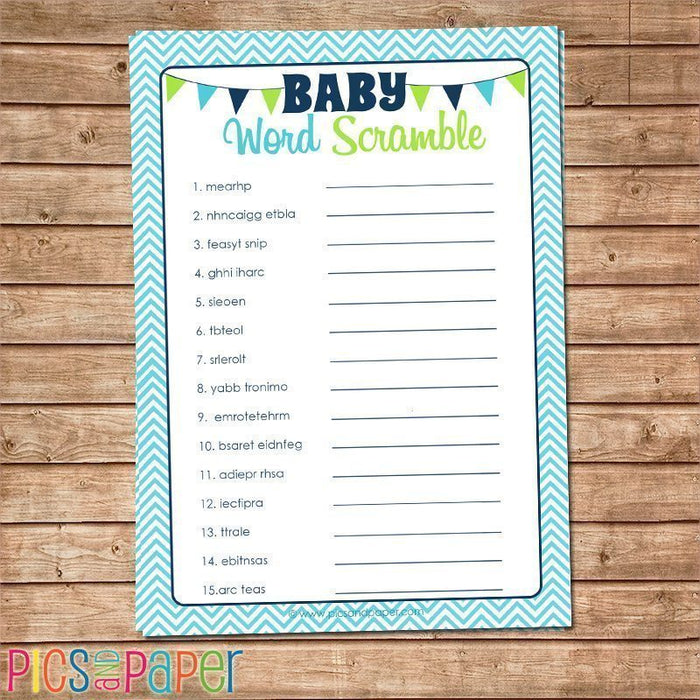 Baby Word Scramble- Aqua Printable Templates Pics and Paper    Mygrafico