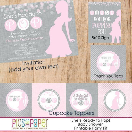 Baby Shower Kit-Pink Gray Party Printable Templates Pics and Paper    Mygrafico