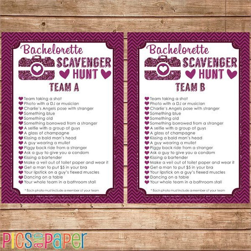Bachelorette Photo Scavenger Hunt Game Printable Templates Pics and Paper    Mygrafico