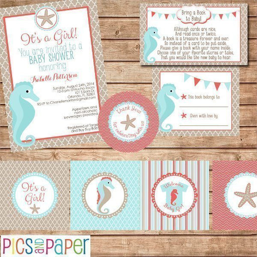 Aqua and Coral Baby Shower Kit- Beach Theme Printable Templates Pics and Paper    Mygrafico