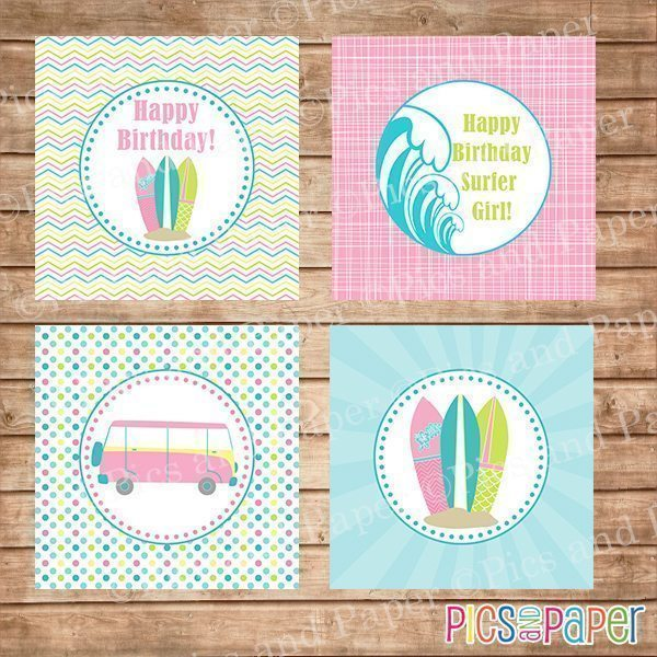 Girl Surf Theme Birthday Party Kit Party Printable Templates Pics and Paper    Mygrafico