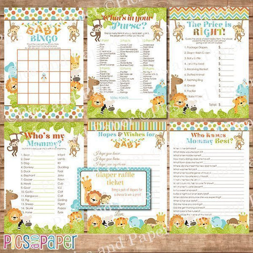 Safari baby shower game Bundle of 7  Pics and Paper    Mygrafico