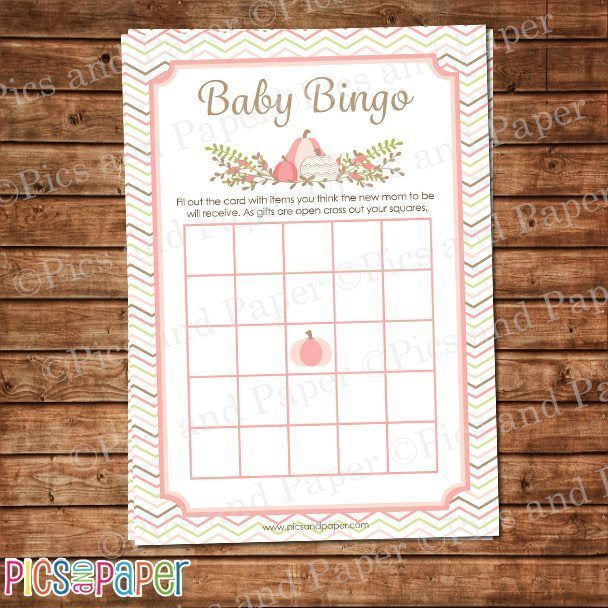 Pink Pumpkin Baby Bingo Game Printable Templates Pics and Paper    Mygrafico