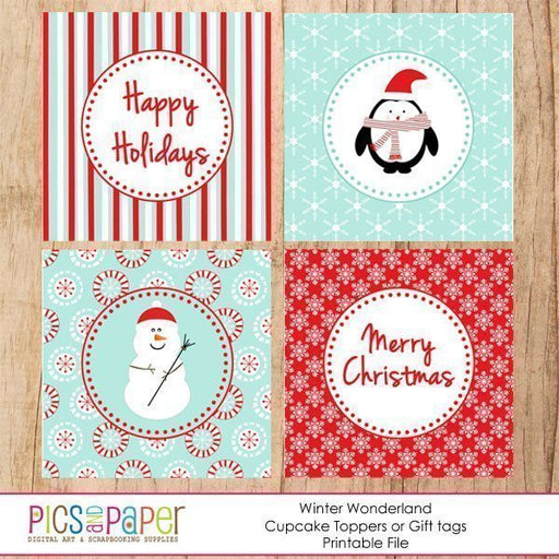 Winter Wonderland Cupcake Toppers  Pics and Paper    Mygrafico