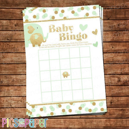 Mint and Gold Elephant Baby Bingo Game Printable Templates Pics and Paper    Mygrafico
