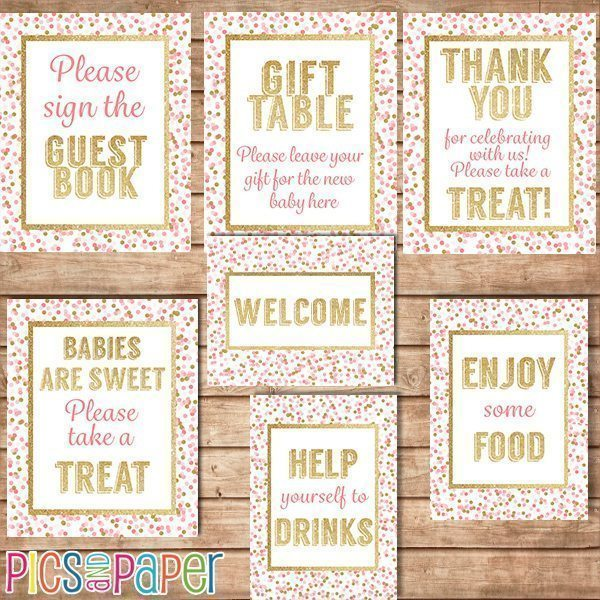 Gold and Pink Baby Shower Table Signs Printable Templates Pics and Paper    Mygrafico