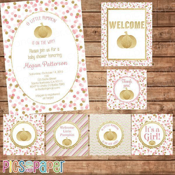 Gold Pumpkin Baby Shower Printable Kit Party Printable Templates Pics and Paper    Mygrafico