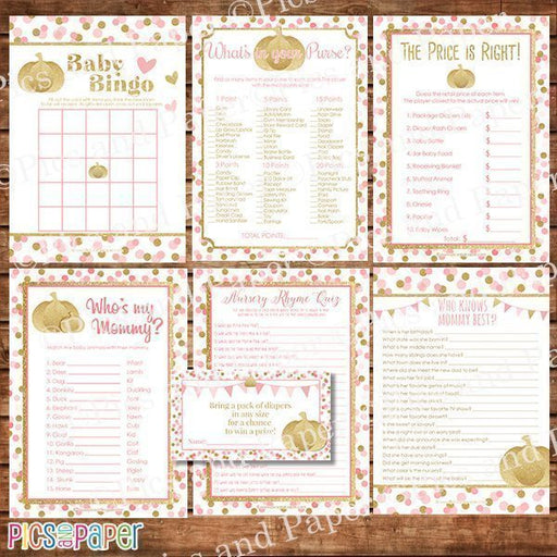 Gold Pumpkin BabyShower Game Bundle Printable Templates Pics and Paper    Mygrafico