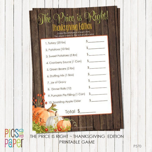 Thanksgiving The Price is Right Printable Game Printable Templates Pics and Paper    Mygrafico