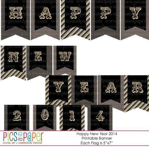 New Year Party Kit in Gold and Black  Pics and Paper    Mygrafico