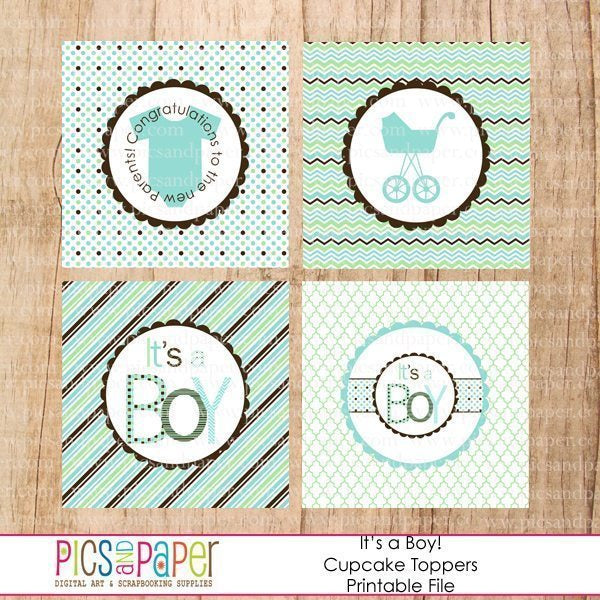 Baby Shower Cupcake Toppers  Pics and Paper    Mygrafico
