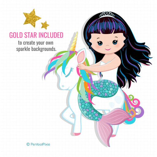 Unicorn and Mermaid clipart Cliparts PentoolPixie    Mygrafico