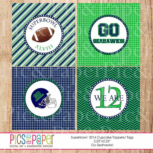 Superbowl Cupcake Toppers- Go Seahawks! Party Printable Templates Pics and Paper    Mygrafico