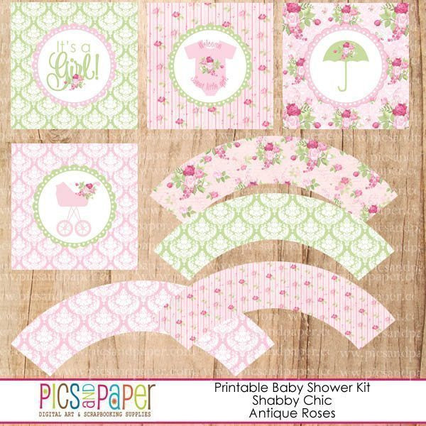 Shabby Chic Baby Shower Kit Printable Templates Pics and Paper    Mygrafico
