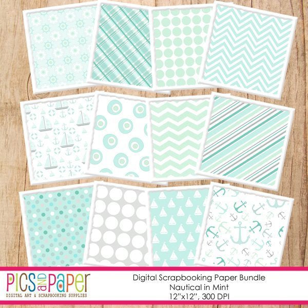 Nautical Paper in Mint Digital Papers & Background Pics and Paper    Mygrafico