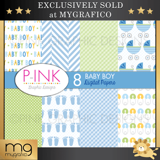 Baby Boy Digital Papers Digital Papers & Background Pink Graphic Design    Mygrafico